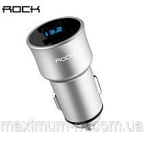 Rock H2 автомобільний зарядний пристрій Car Charger with Digital Display 5V 3.4 A Gray