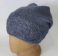 Женская теплая шапка с напуском.  Флисовая подкладка. Цвет левайс.