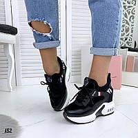 Женские кроссовки чёрные  на платформе Love