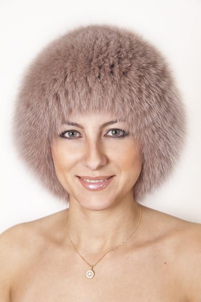 Вязаная круглая женская шапка из песца Vp00023  Капучино