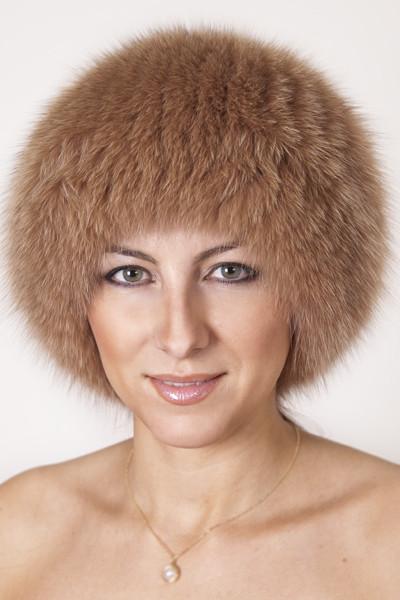 Вязаная женская шапка из песца Vp00023 Беж