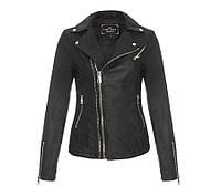 Весенняя женская черная куртка косуха с экокожи 42 размер