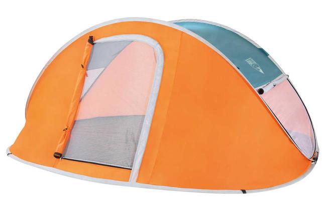 Палатка Туристическая 68005 SH BESTWAY Оранжевая  трехместная палатка с антимоскитной сеткой для похода, фото 2