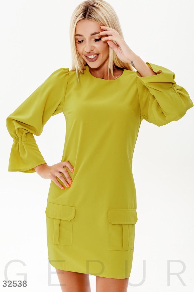 Повседневное короткое платье с объемным рукавом желтое