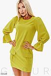 Повседневное короткое платье с объемным рукавом желтое, фото 2
