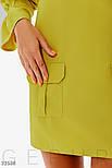 Повседневное короткое платье с объемным рукавом желтое, фото 3