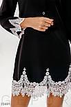 Короткое платье с кружевными вставками черное, фото 2