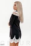 Короткое платье с кружевными вставками черное, фото 3