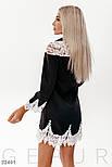 Короткое платье с кружевными вставками черное, фото 4