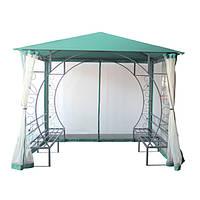 Летний павильон для отдыха на даче/за городом, с металлическим каркасом, сеткой против комаров, двумя лавками