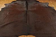 Коричневая кожа под крокодила купить натуральную кожу, фото 1