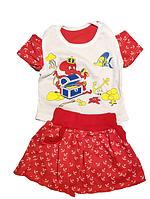 """Комплект футболка и юбка  """"Сокровища"""" детский летний для девочек 1-2 года (100% хлопок)"""