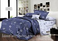 Постельное белье синее со звездами Бязь полуторный комплект