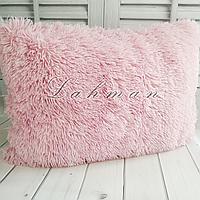Чехол для подушки травка  50х70 см. | Декоративные пушистые наволочки для интерьера, цвет пудра
