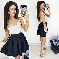 Красивая женская юбка-полусолнце чёрный