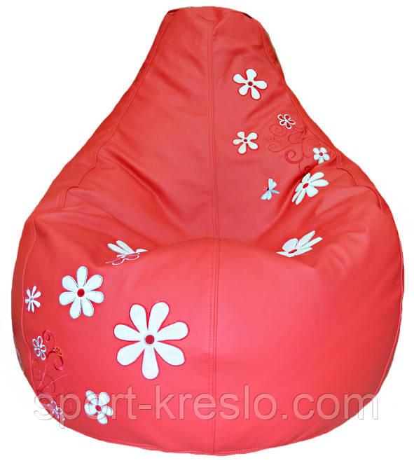 М'яке Крісло, пуф sportkreslo з вишивкою Ромашка Екокожа розмір XL 110*130см червоний