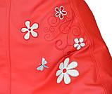 М'яке Крісло, пуф sportkreslo з вишивкою Ромашка Екокожа розмір XL 110*130см червоний, фото 2