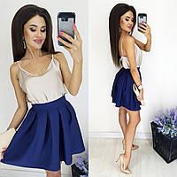Красивая женская юбка-полусолнце тёмно-синий