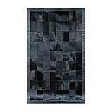 Однотонний чорний килим з шкури корів з шкіряним або замшевою кантом, фото 2