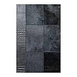 Однотонний чорний килим з шкури корів з шкіряним або замшевою кантом, фото 5