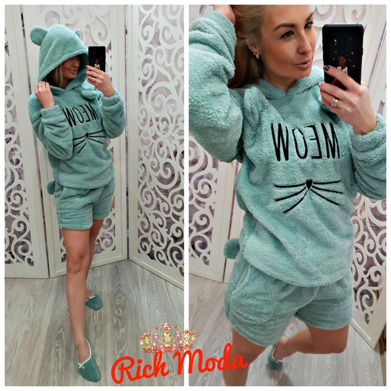 Модная махровая пижама Кошка с шортами
