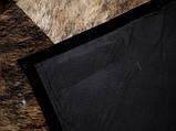 Однотонний чорний килим з шкури корів з шкіряним або замшевою кантом, фото 6