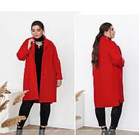 / размер 48,50/ Женское мягкое, тёплое и очень привлекательное пальто батал / 1709-Красный