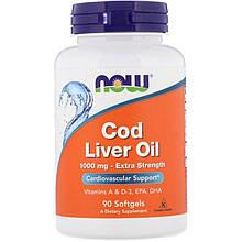 """Жир печени трески NOW Foods """"Cod Liver Oil"""" поддержка сердечно-сосудистой системы, 1000 мг (90 гелевых капсул)"""