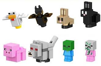 Конструктор Minecraft  майнкрафт Курица,Летучая мыщь,кроль,хрюшка,волк,зомби