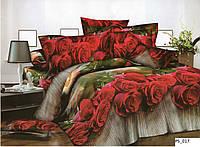 3D Полуторное постельное белье Amika бордовые розы