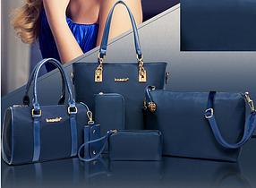 Набор дизайнерских сумок 6 в 1: две сумки, клатч, косметичка, кошелек, ключница