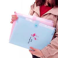 Папка для документов с отделами Фламинго голубая