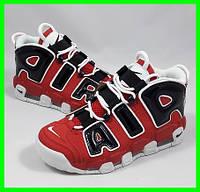 Кроссовки Nike Air More Uptempo Красные с Чёрным Найк (размеры: 39,40,41) Видео Обзор