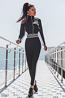 Спортивный костюм с полосками с короткой кофтой черный