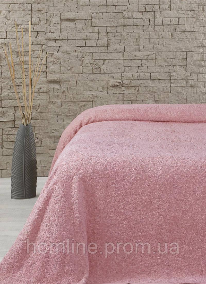 Махровая простынь-покрывало Lotus Sun розовый 160*220