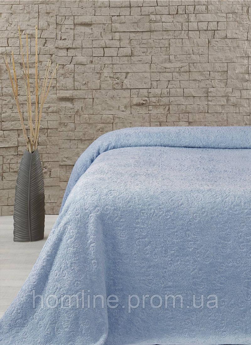 Махровая простынь-покрывало Lotus Sun голубой 160*220