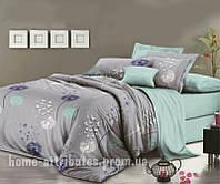 Постельное белье серо-голубой одуванчик Бязь полуторный комплект