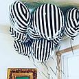 Фольгированный стильный воздушный шар в черно белую полоску 45 см, фото 2