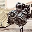Фольгований стильний повітряна куля в чорно-білу смужку 45 см, фото 3