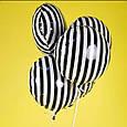 Фольгированный стильный воздушный шар в черно белую полоску 45 см, фото 7