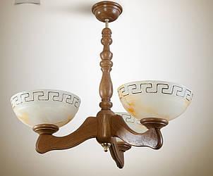 Люстра в грецькому стилі дерев'яна в кухню, спальню 3-лампова 330