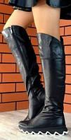 Mante crazy! Женские зимние ботфорты на змейке, евро зима на необычной подошве 100% натуральная кожа, фото 1