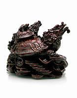 Черепаха-дракон тройной каменная крошка коричневый (10х11х9 см)