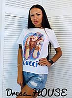 Белая свободная женская футболка с рисунком tez517165, фото 1