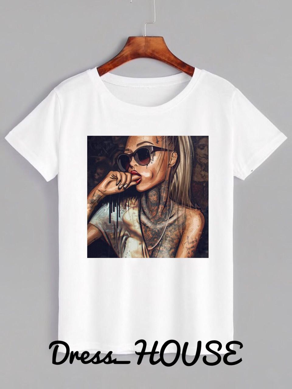 Женская футболка на лето с рисунком tez517177, фото 1