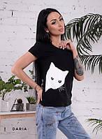 Легкая футболка с рисунком кошка tez5517181, фото 1