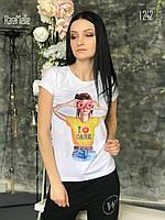 Женская хлопковая футболка с рисунком tez5117185, фото 1