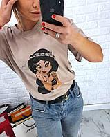 Женская удлиненная сзади футболка с рисунком tez317190, фото 1