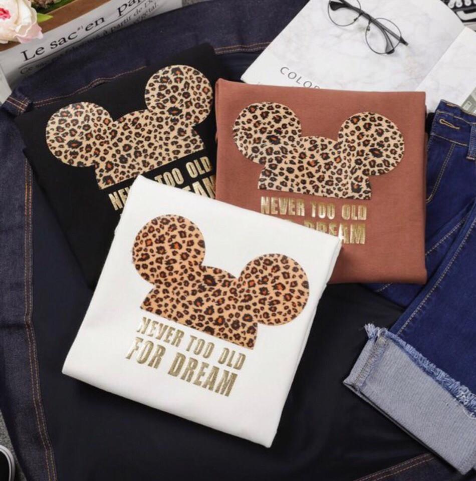 Женская футболка с леопардовой накаткой Микки tez6817197