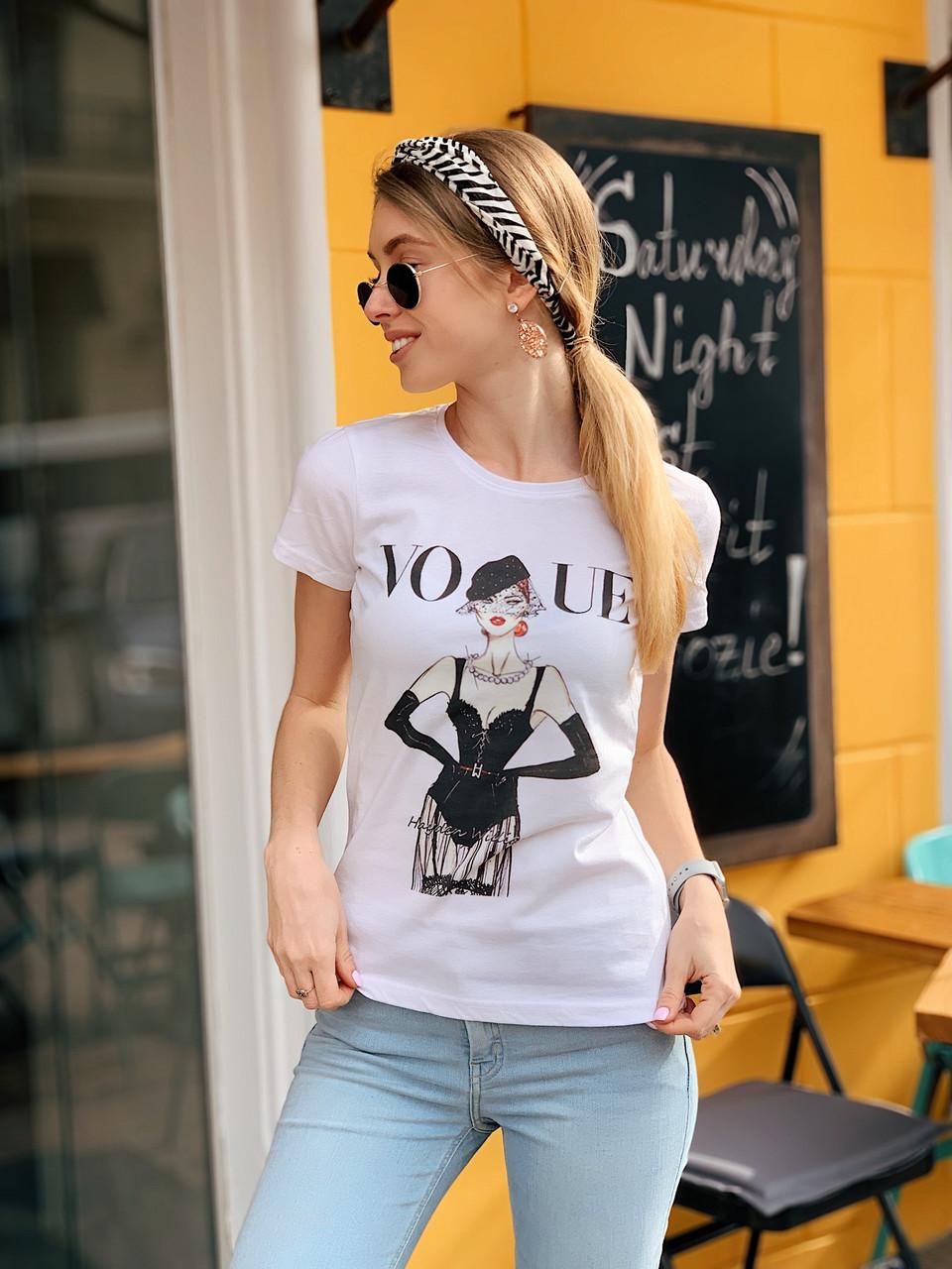Женская хлопковая футболка с рисунком tez2217199